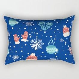 Winter Pattern Mittens Mugs Hearts Snow Flakes Rectangular Pillow