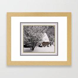 OLD SHED IN SNOW Framed Art Print