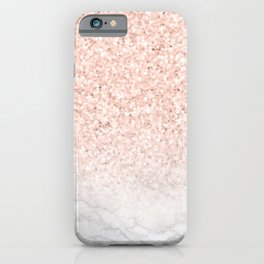 She Sparkles Rose Gold Pink Marble Luxe iPhone Case