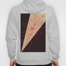 Modern Peach, Coral, and Black Floral Triangles Hoody