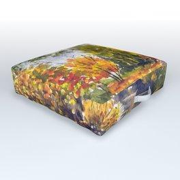 River in autumn watercolor landscape sketch Outdoor Floor Cushion