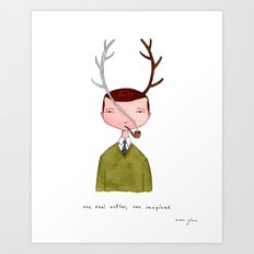 One real antler, one imagined Art Print