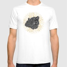 Bear Attack MEDIUM Mens Fitted Tee White