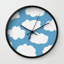 Blue Sky and Fluffy White Clouds Wall Clock