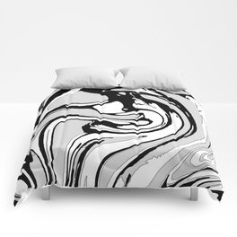 Black, White and Gray Graphic Paint Swirl Pattern Effect Comforters
