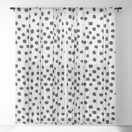 Preppy brushstroke free polka dots black and white spots dots dalmation animal spots design minimal Sheer Curtain