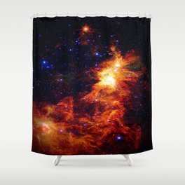 Fiery gAlAXy Indigo Stars Shower Curtain