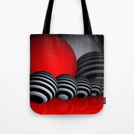 round and red and white and black Tote Bag