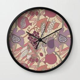 Seven Species Botanical Fruit and Grain in Mauve Tones Wall Clock