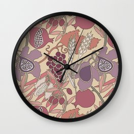 Seven Species Botanical Fruit and Grain in Mauve Tones Wall Clock