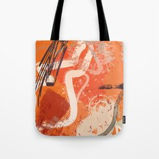 Ignite: a fiery and loud abstract piece in reds, orange, and plum Tote Bag