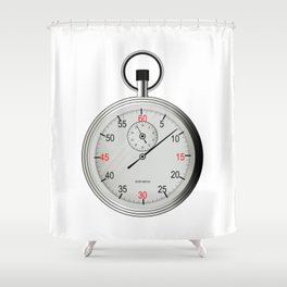 Silver Stop Watch Shower Curtain