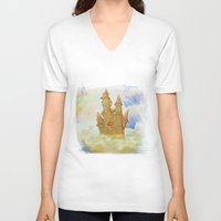 castle in the sky V-neck T-shirts featuring castle in the sky by Ancello