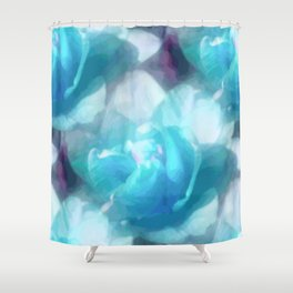 Turquoise abstracted tulips Shower Curtain