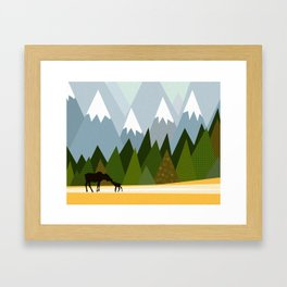 Woodland snowy mountain tops trees and mother moose and baby Framed Art Print