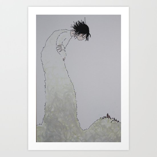 'Watch Over' (Pen and Ink) Art Print