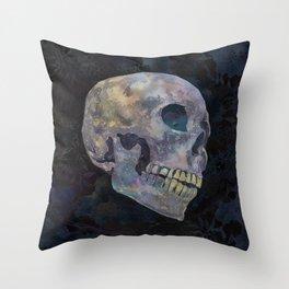 Gothic Skull Art Print | Halloween Home Décor Watercolor Skull Illustration - Midnight Navy Charcoal Throw Pillow