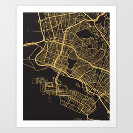 OAKLAND CALIFORNIA GOLD ON BLACK CITY MAP Art Print