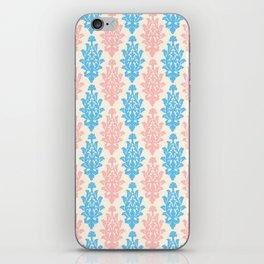 Pastel pink blue vintage chic floral damask pattern iPhone Skin