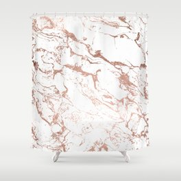 Modern chic faux rose gold white marble pattern Shower Curtain