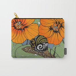 Snail on Nasturtiums Carry-All Pouch
