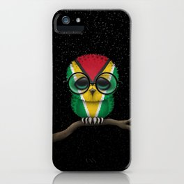 Baby Owl with Glasses and Guyanese Flag iPhone Case