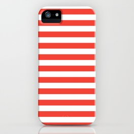 Even Horizontal Stripes, Red and White, M iPhone Case