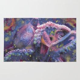 """Octopus Fine Art Print Reproduction Watercolor """"Tentacles"""" Squid, Kracken, Aquatic Art Rug"""