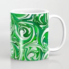 Emerald Green, Green Apple, and White Paint Swirls Coffee Mug