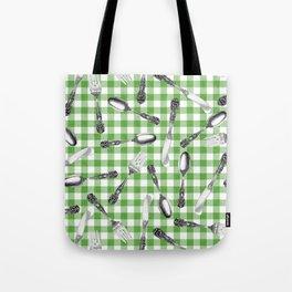 Utensils on Green Picnic Blanket Tote Bag