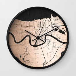 New Orleans Rose Gold and Black Map Wall Clock