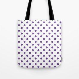 Small Polka Dots - Dark Lavender Violet on White Tote Bag