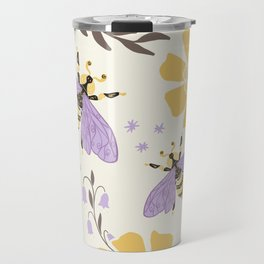 Honey Bees and Flowers - Yellow and Lavender Purple Travel Mug