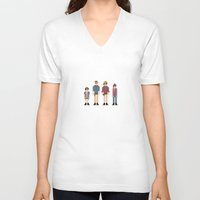 jurassic park V-neck T-shirts featuring 8-bit Jurassic Park by MrHellstorm