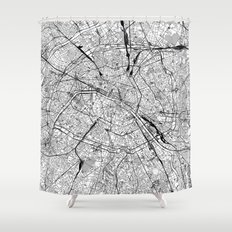 Paris Shower Curtains Society - Hand lettered us map black and white shower curtain