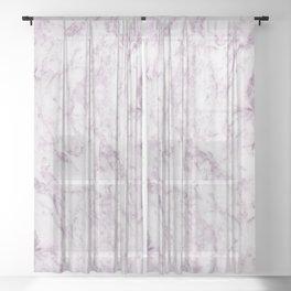 Elegant modern vintage white lilac violet marble Sheer Curtain
