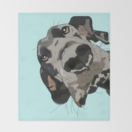 Great Dane In Your Face Throw Blanket
