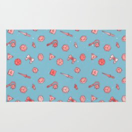 Dice and Daggers: Pink and blue Rug
