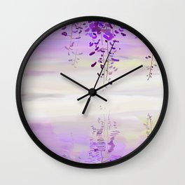 Wistearia Blossoms Reflection Wall Clock