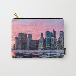 New York Skyline And Frozen Hudson River Carry-All Pouch
