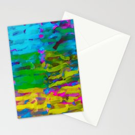 psychedelic graffiti painting abstract in blue yellow green pink Stationery Cards