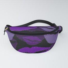 lips violet black background Fanny Pack