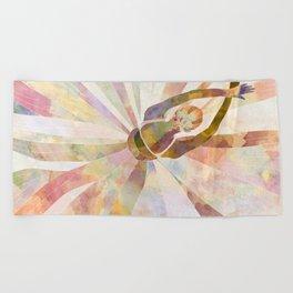 Sleeping Ballerina Floral - Gold Summer Palette Beach Towel
