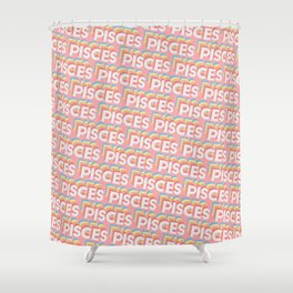 Pisces Trendy Rainbow Text Pattern (Pink) Shower Curtain