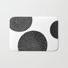 Back and White Retro Mod Flowers by Friztin Bath Mat