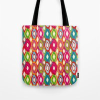 ikat Tote Bags featuring Ikat by Helene Michau