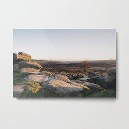 Owler Tor rock formations at sunset. Derbyshire, UK. Metal Print