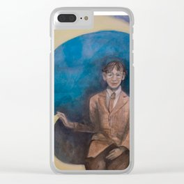 Watercolor Portrait of Boy on a Crescent Moon Clear iPhone Case