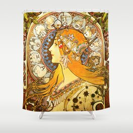 La Plume Zodiac - Alphonse Mucha Shower Curtain