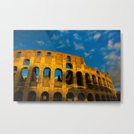 Sunset Over The Roman Colosseum Metal Print